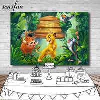 Sensfun 220x150cm las lew w stylu kreskówki król tło chłopcy 1 urodziny tło do zdjęć Studio winylu poliester
