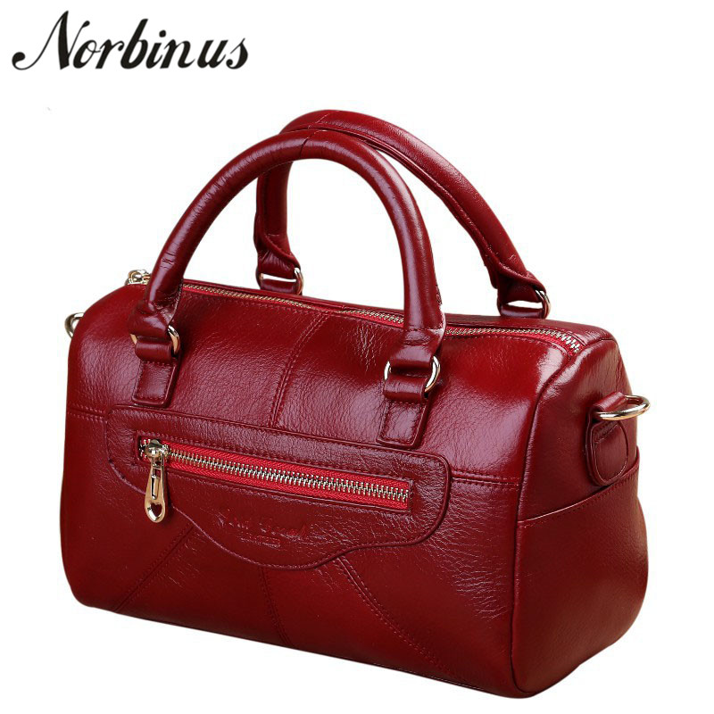 Norbinus Genuine Leather Women Fashion Handbag Real Cowhide Messenger Shoulder Bag Ladies Designers Tote Top Handle