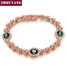 Top Quality ZYH044 Green Crystal Rose Rose Gold Color Bracelet Genuine Austrian Crystals Wholesale ZYH045