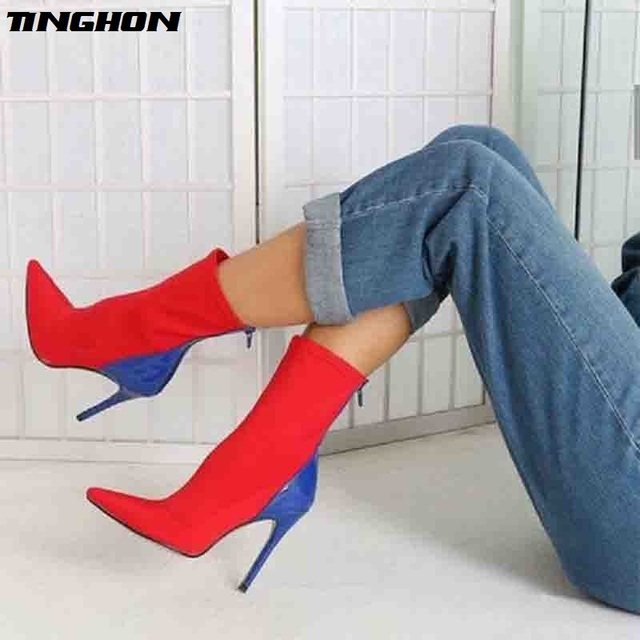 TINGHON New Autumn Women Boots Stretch Fabric Pointed toe Ankle Boots Thin  Heels Sexy Pumps Women Boots shoes Size 35-42 67860472fb19