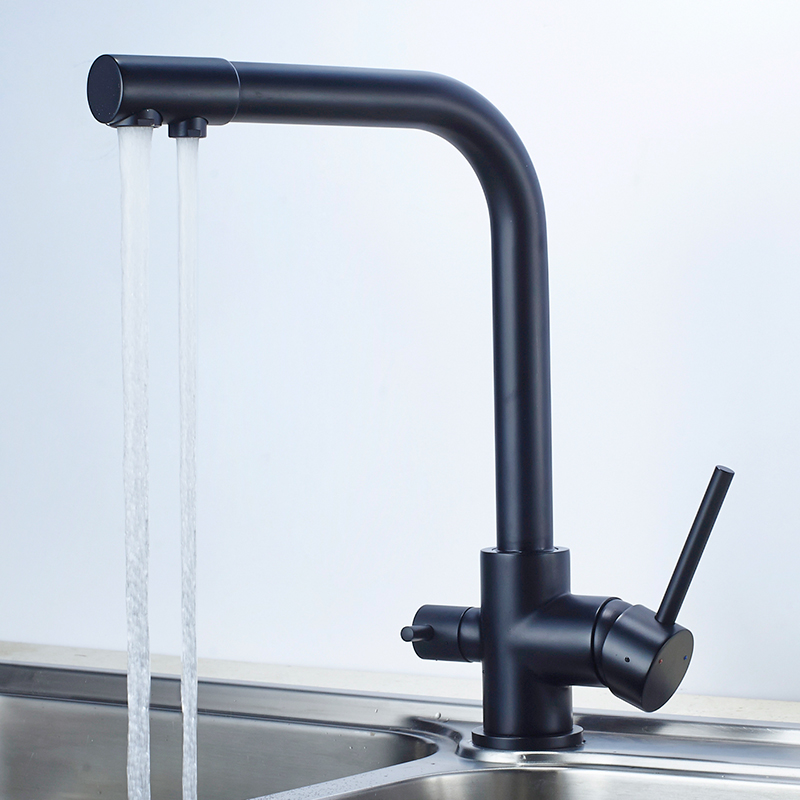 Kitchen Faucet Black 2 Ways Drinking Water Filter Tap Brass Sink Faucet Double Handle 360 Drgree Rotation Water Purification Tap