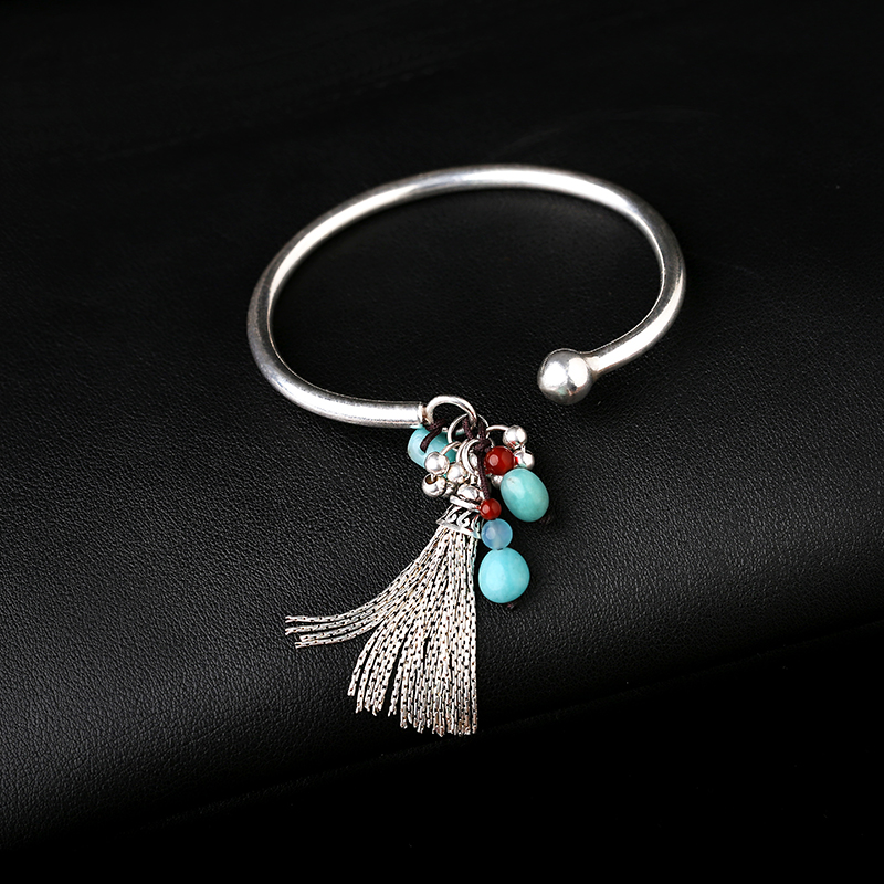 Silver personality national wind open fringed bracelet students girlfriends birthday solid bracelet female models s925 pure silver personality female models new beeswax