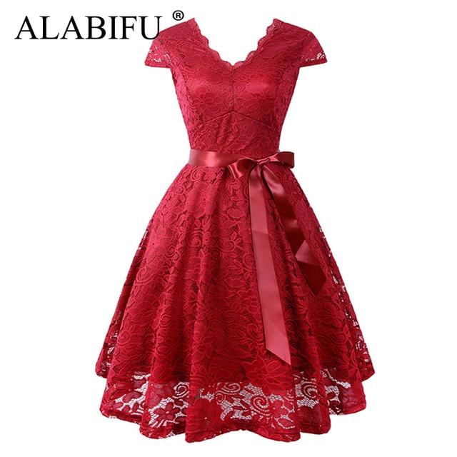 ALABIFU Summer Dress Women 2019 Sexy Short Sleeve Long Party Dress Vintage Casual Ball Gown Lace Dress Red Bridesmaid Vestidos