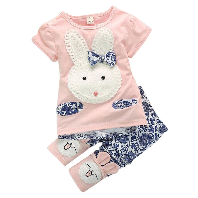 2Pcs Suits Baby Kids Girls Clothes Sets Cute Rabbit Cartoon T-shirt Tops +Short Pants Summer Style Children's Clothing Sets girls tops cute pants outfit clothes newborn kids baby girl clothing sets summer off shoulder striped short sleeve 1 6t