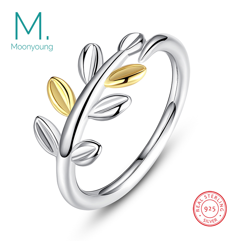 Genuine Real 925 Sterling Silver Elegant Wedding Engagement Ring Mix Colors Bay Leaf Ring for