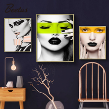 Abstract  Painting Wall Art Pictures Fashion Woman White And Black Modern Home Canvas Beauty Decor Nordic Posters
