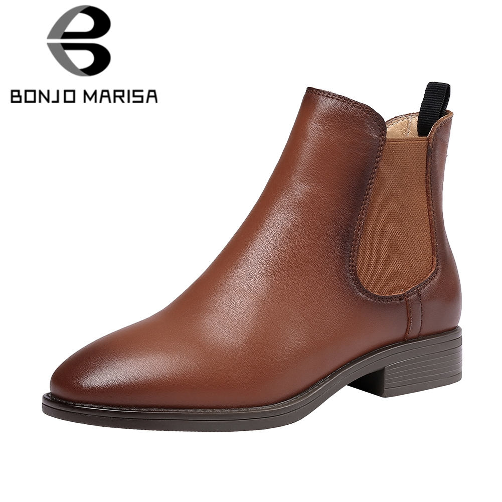 BONJOMARISA Shoes Woman Overall Low-Heels Ankle-Chelsea Genuine-Leather Slip-On Retro