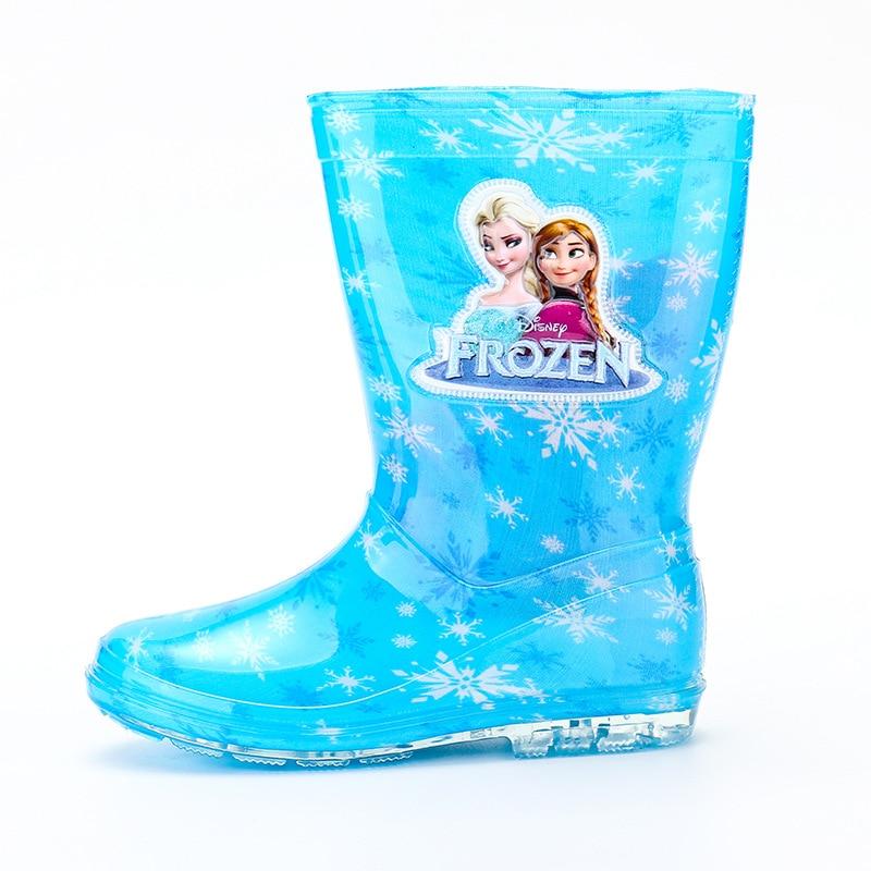 2019 New Disney Princess Frozen Children Rain Boots Rubber Shoes Cartoon Men And Women PVC Girls  Water Shoes Size 26-31