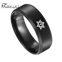 FairLadyHood Star Of David Cross Ring Men Christian JESUS Titanium Steel Pentagram Women Wedding Band Ring Punk Religion Jewelry стоимость