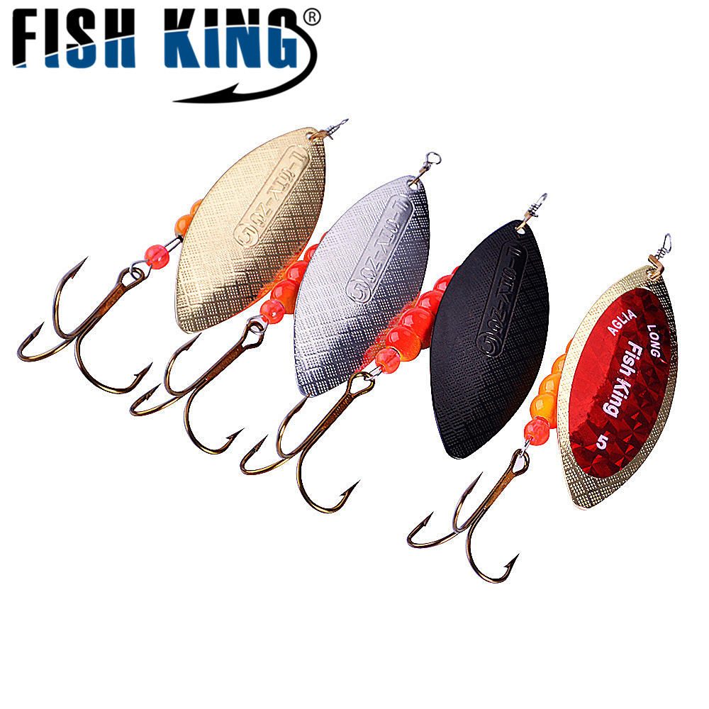 FISH KING Willow shaped Spinner Bait 1PC 4 Color Size1-Size5 Fishing Lure Mepps Bass Hard Baits Spoon With Treble Hook Tackle kcchstar bk 4973 18k gold plated alloy chain rhinestone pendant necklace golden blue