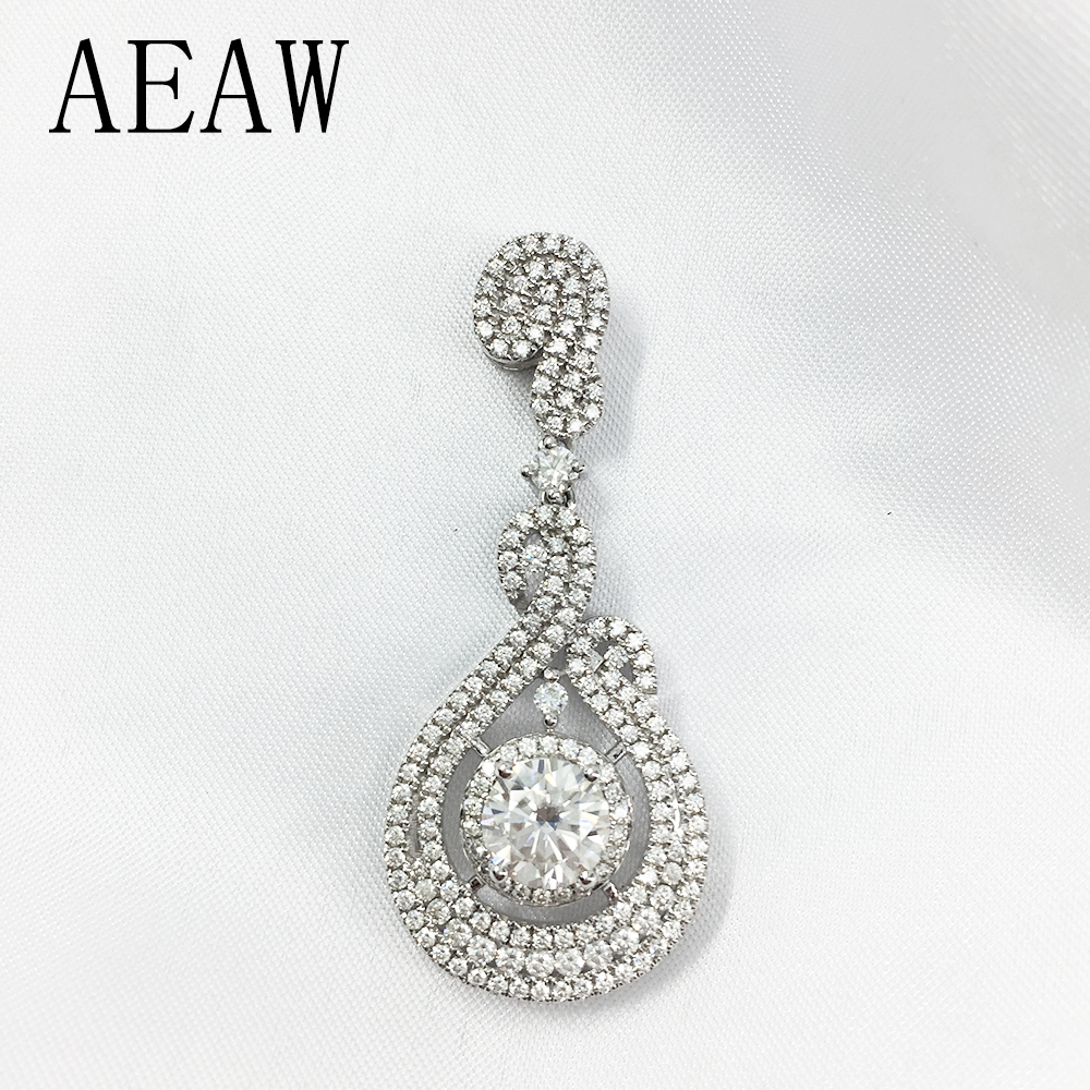 AEAW Lab Grown Moissanite Diamond Solitaire Slide Pendant Solid 14k White Gold for Women Wedding Engagement transgems 1 carat lab grown moissanite diamond solitaire slide pendant solid 18k yellow gold for women wedding birthday gift