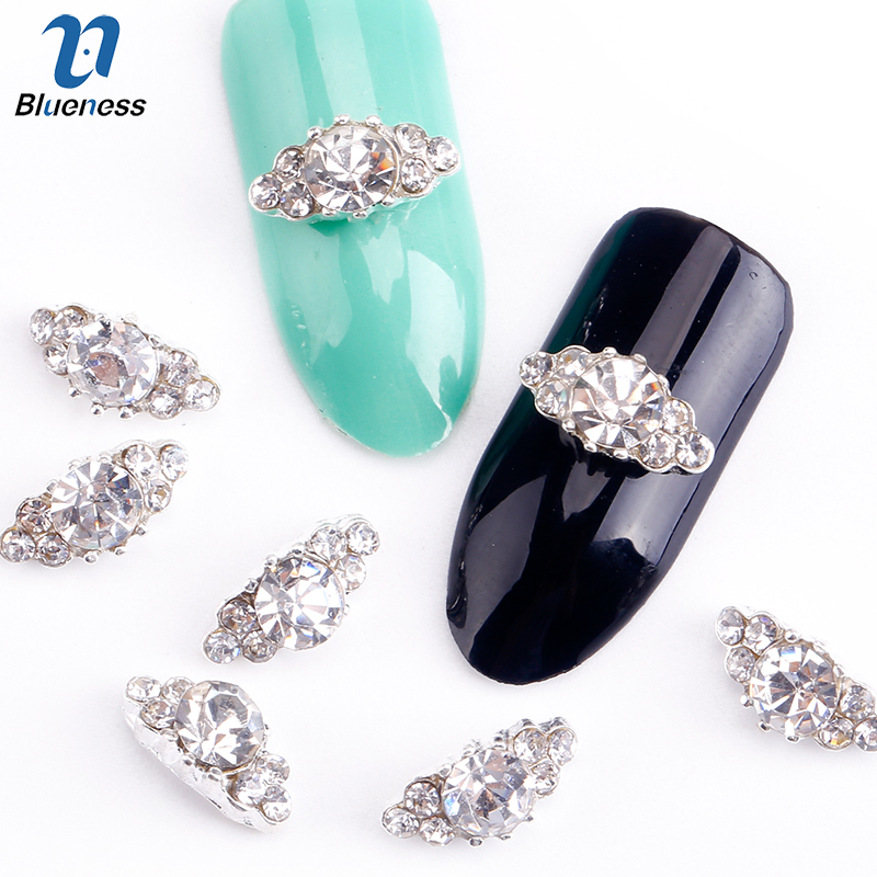 Blueness 10 Pcs 3D Nail Art Decorations Diy Glitter Silver Alloy Charm Clear Rhinestones Crystal Marquise For Nails Tools Gift 300pcs set gold silver 3d alloy nail art decoration diy glitter rhinestones manicure nail accessories triangle design with boxes