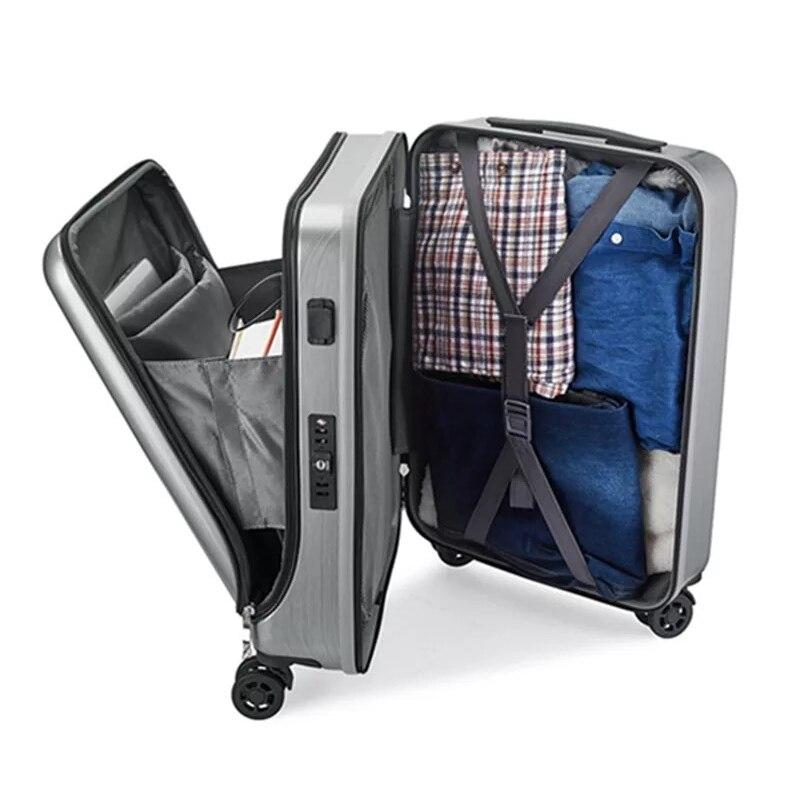 Maleta de viaje, nueva cabina de equipaje rodante con bolsa para ordenador portátil, maleta con carretilla de mujer con carga USB, caja de negocios de lujo para hombre-in Maletas from Maletas y bolsas    1