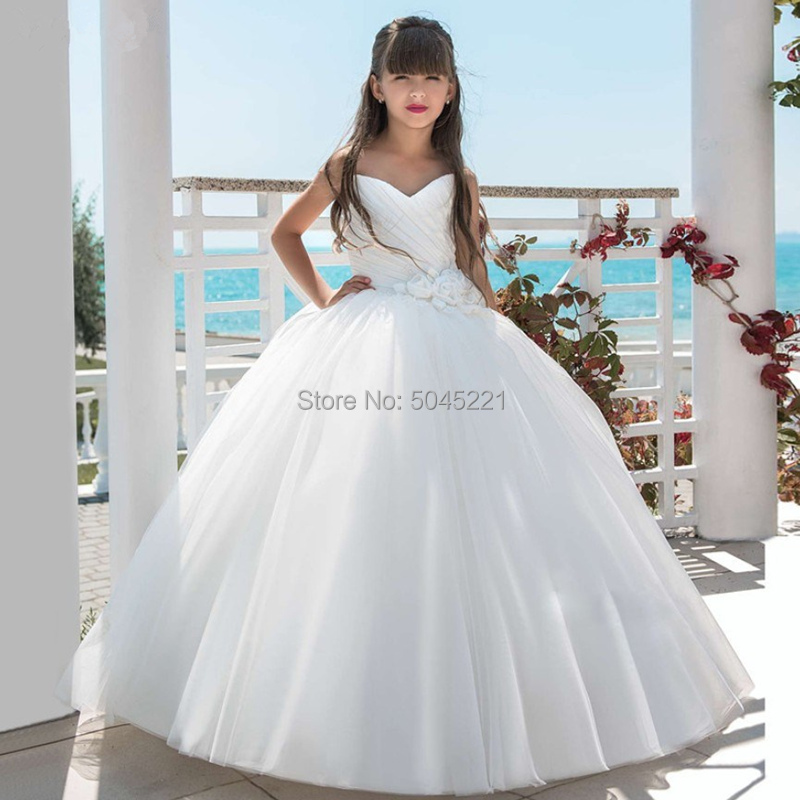 White Chiffon   Flower     Girl     Dresses   Sleeveless Ball Gown V Neck Pleated Pageant Gowns   Dress   For First Communion prom Party   Dress