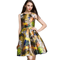 Hot Sale Women Dress New Arrival Summer Style Personality Painting Printed Sleeveless Casual Dresses Brand Summer