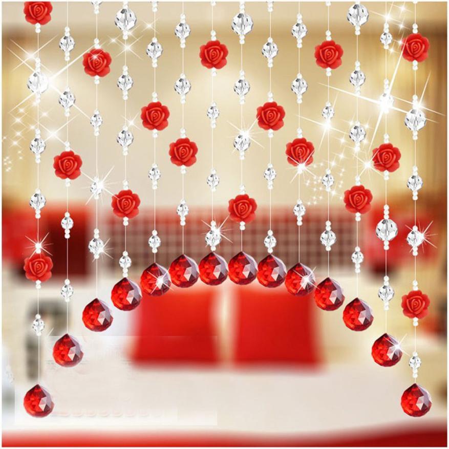 Crystal Glass Rose Bead Curtain Living Room Bedroom Window Door