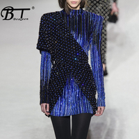 Beateen 2018 New Fashion Autumn Winter Sequined Bodycon Mini Dress Sexy Club Party Women Sexy