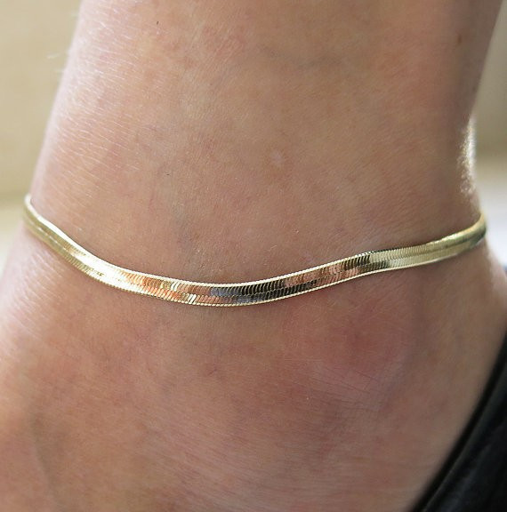 Charm Herringbone Adjustable Anklet