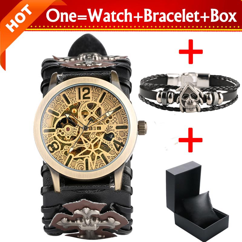 Retro Bronze Skeleton Gear Watches Mens Mechanical Automatic Clock Male Leather Wristwatch with Bracelet Gift Box Reloj HombreRetro Bronze Skeleton Gear Watches Mens Mechanical Automatic Clock Male Leather Wristwatch with Bracelet Gift Box Reloj Hombre