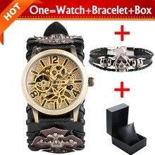 купить Retro Bronze Skeleton Gear Watches Men's Mechanical Automatic Clock Male Leather Wristwatch with Bracelet Gift Box Reloj Hombre по цене 1917.46 рублей