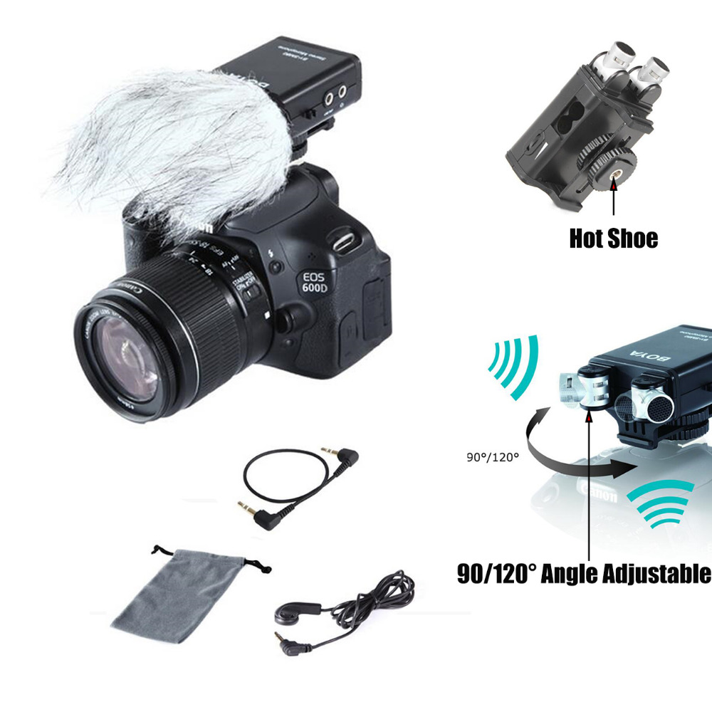 BOYA BY-SM80 Stereo Video Microphone with Windshield for DSLR Camera Microphone Camcorder boya by sm80 stereo video microphone with windshield for canon for nikon for sony dslr camera microphone camcorder