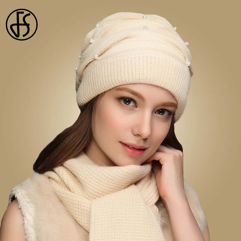 FS Women Winter Hats Knitted Wool Rabbit Braid Caps With Faux Pearl Female Skullies Beanies 2019 Slouchy Cap With Scarf Warm