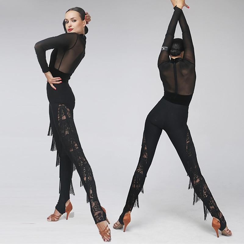 Sexy Latin Dance Pants For Lady Black Lace Tassels Pant Ballroom Cha Cha Women Training Fitness Trousers Dance Costumes VDB377