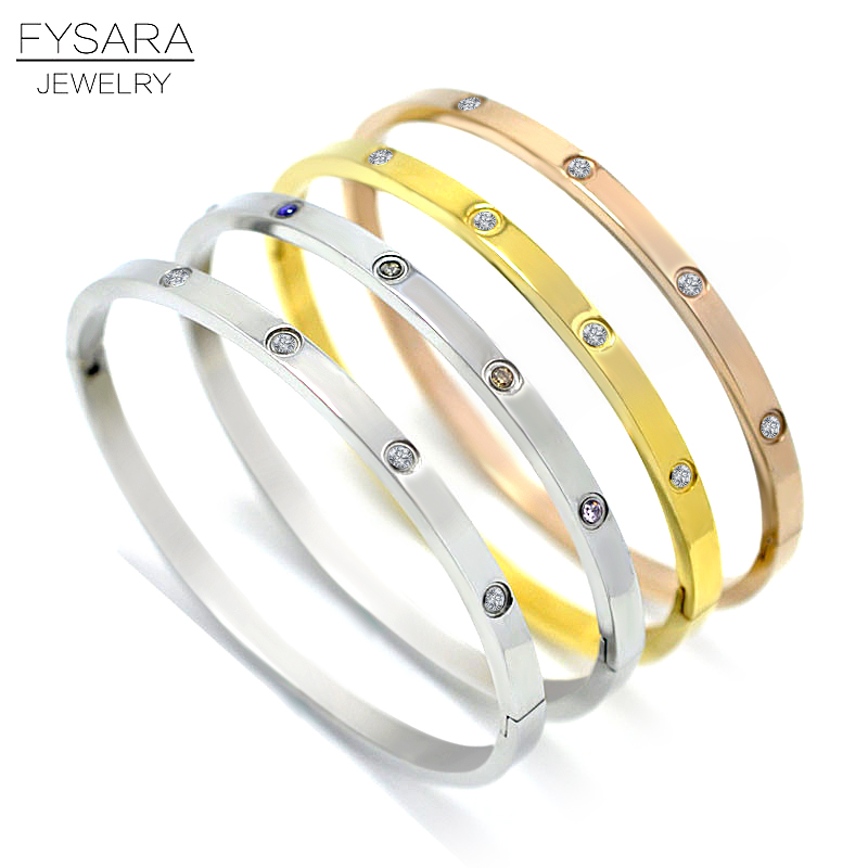 FYSARA Titanium Steel Colorful Cubic Zirconia Crystals Lover Bangles for Women Jewelry Luxury Brand Nail Screw Thin Bangles