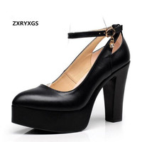 2018 New Spring Pointed Platform Women Pumps Shoes Shallow Mouth T Stage Catwalk Black White Cow Leather Shoes Shoes Size 33 43