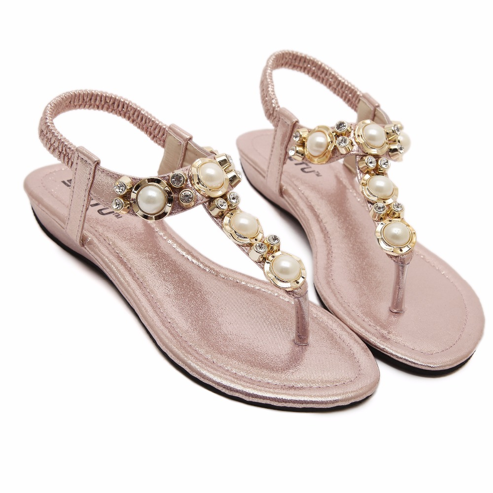 Flat heel sandals images - Online Shop Siketu New Summer Style Beading Pearls Women Sandals Flat Heel Four Color Bridal Comfortable Shoes 801 1 Aliexpress Mobile