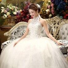 Fansmile 2020 Goedkope Halter Kant Wedding Dress Vintage Vestidos De Novia Plus Size Bruid Jurk Onder $100 Gratis Verzending FSM 040F