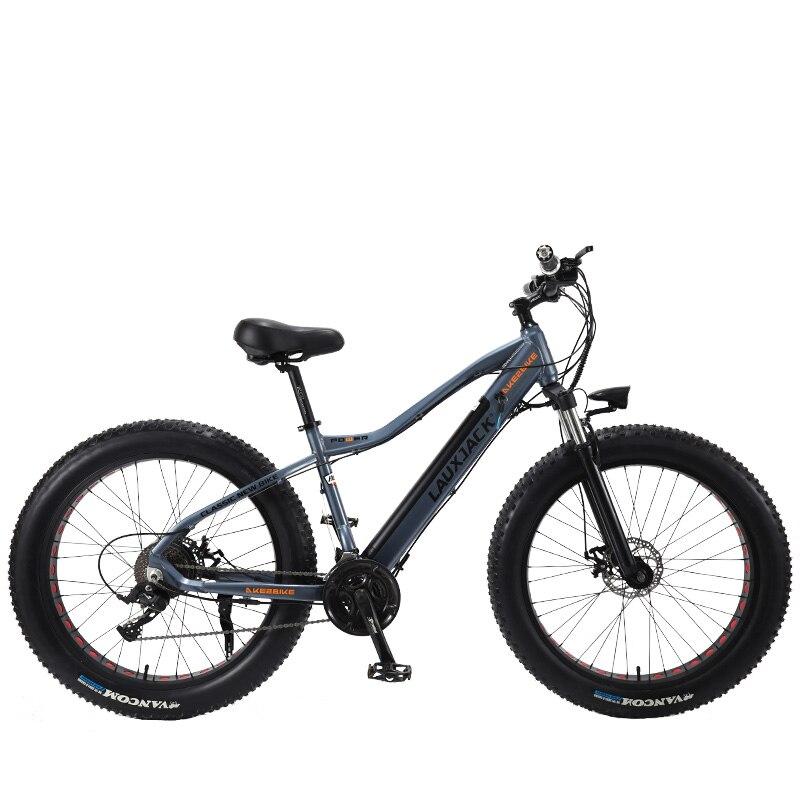 LAUXJACK Fatbike Bici Elettrica di Alluminio Telaio 27 Velocità Meccanico Freno 26