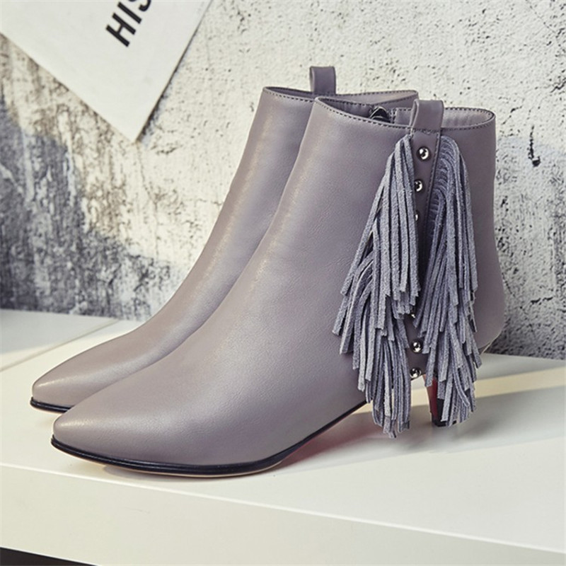 Autumn Winter Ankle Boots Fashion Fringe Women Boots Genuine Leather Pointed Toe Stiletto High Heel Sexy Party Shoes Size 34-43 women boots 2017 autumn winter women s shoes pu leather ankle boots cowboy western pointed toe punk boots ladies big size
