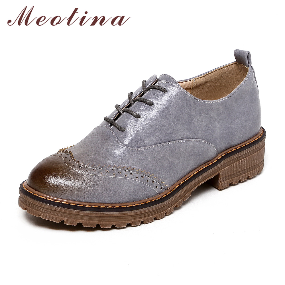 Meotina Women Derby Shoes Lace up Flats Female Brogue Shoes 2018 Design Ladies Casual Shoes Black Plus Size 33-42 Zapatos Mujer autumn brogue shoes woman casual oxford flats shoes lace up moccasins plus size women ballet flats zapatos mujer british style