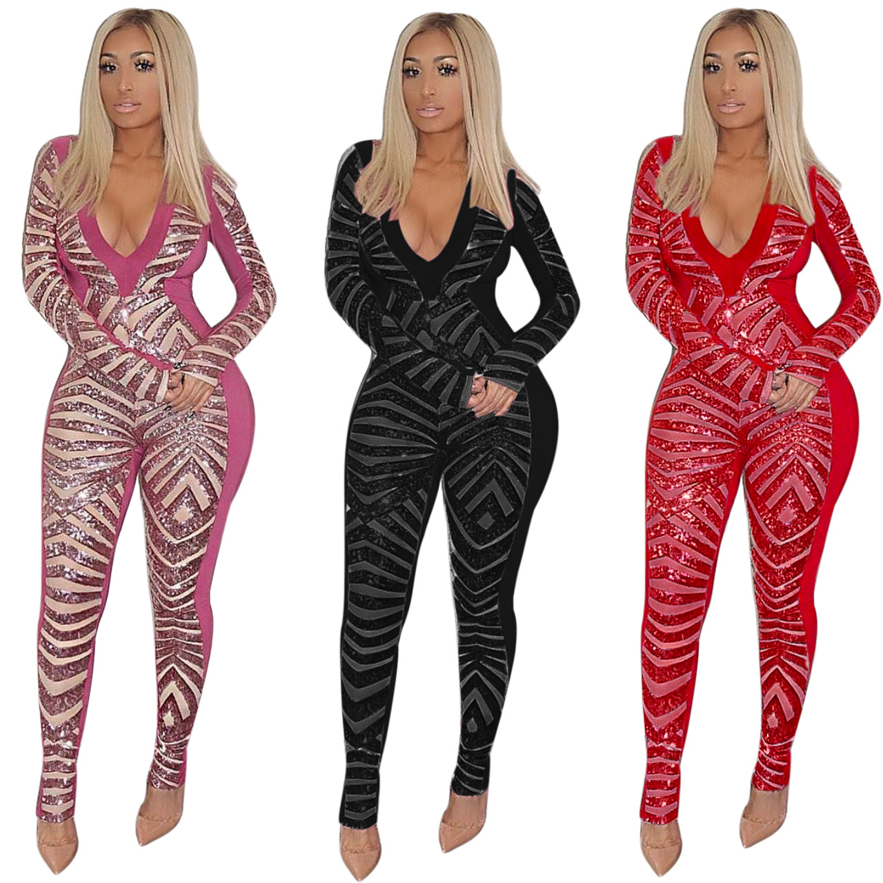 Autumn Women Sequin Jumpsuit Sexy V Neck Mesh Sheer Sparkly Bodysuit Glitter Long Sleeve Romper Christmas Party Clubwear M829