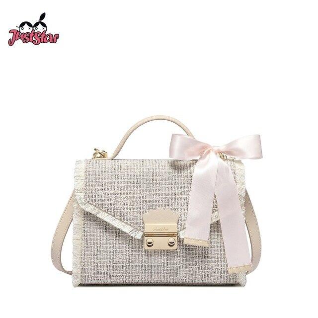 Just Star Women S Linen Handbags Las Fashion Bow Lock Shoulder Purse Female Leather All Match