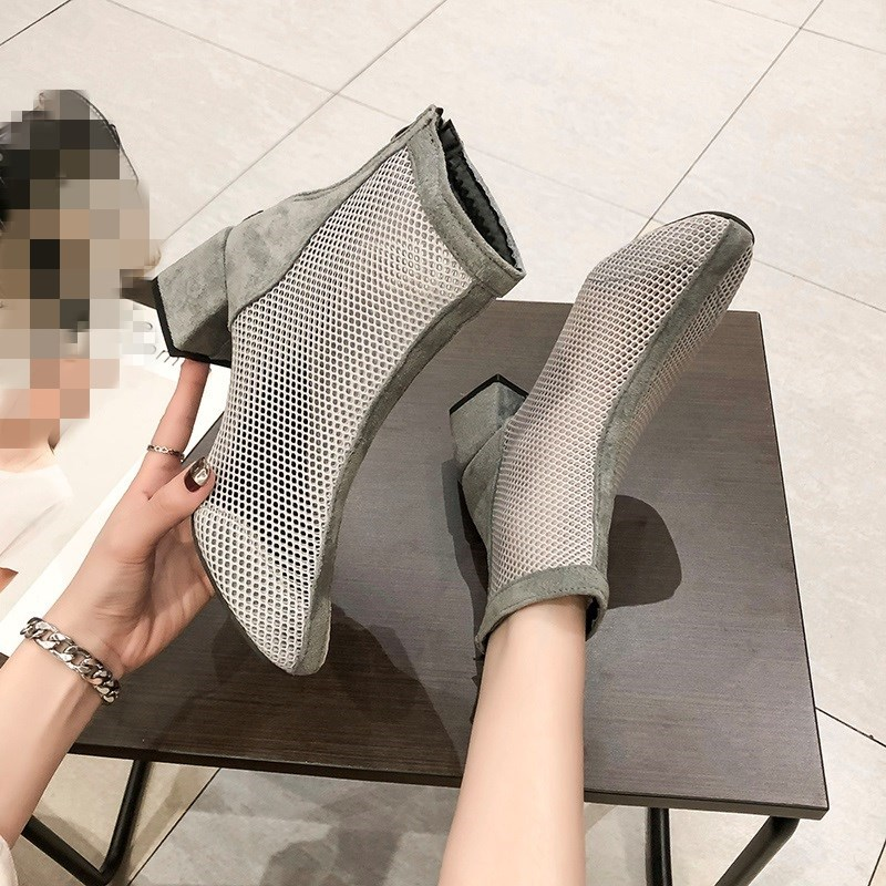 SLHJC 2019 Summer Boots Med Square Heel Chunky Boots Breathable Mesh Square Toe Zip Short Ankle Pumps Boots Shoes Summer SandalsSLHJC 2019 Summer Boots Med Square Heel Chunky Boots Breathable Mesh Square Toe Zip Short Ankle Pumps Boots Shoes Summer Sandals