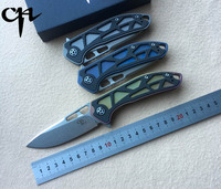 CH 3509 Original Flipper Folding Knife D2 Blade Titanium Carbon Fiber Handle Outdoor Camping Hunting Pocket