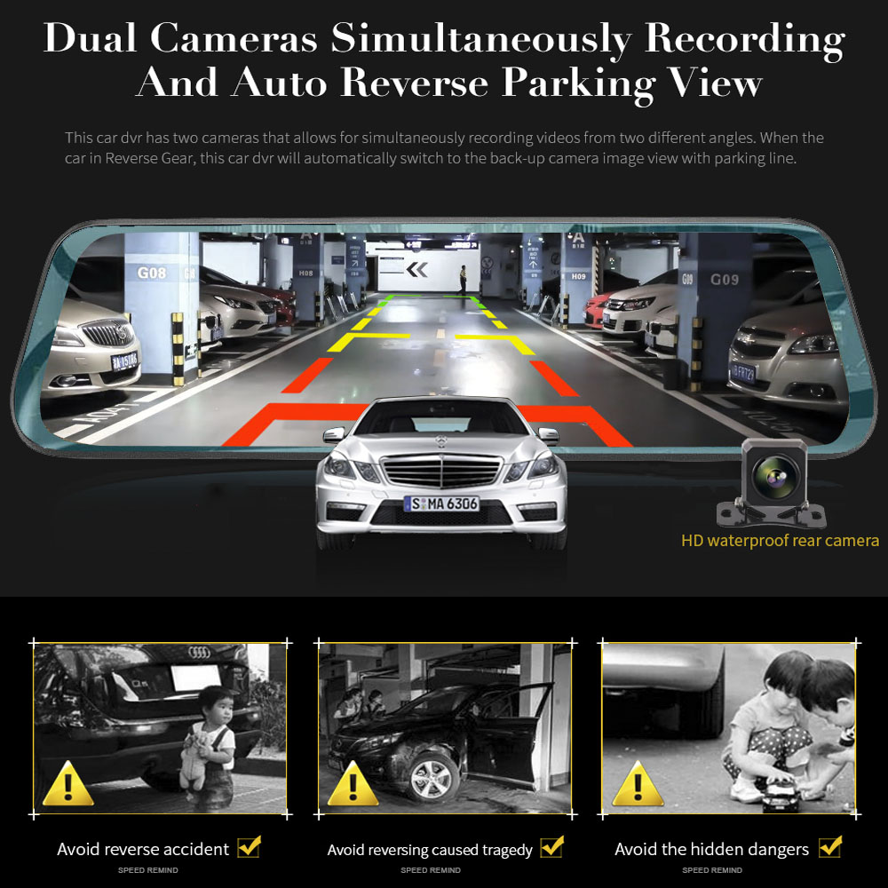 Автомобильный видеорегистратор TAVIN, 10 дюймов, сенсорный экран, зеркало заднего вида, видеорегистратор, Full HD, фронтальная Автомобильная камера + 1080 P, задняя камера, двойной объектив, видео рекордер - 4