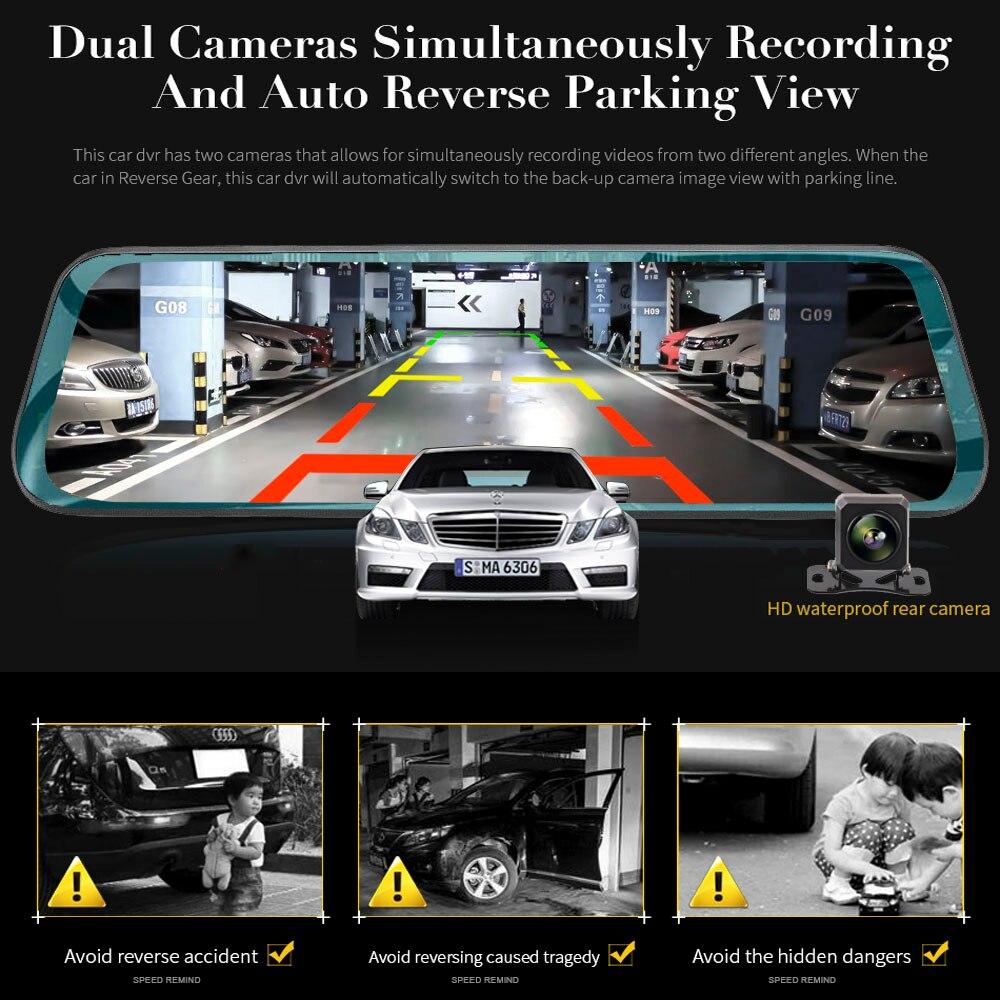 TAVIN Auto DVR 10 zoll Touchscreen Rückspiegel Dash cam Full HD Front Auto Kamera + 1080P zurück Cam Dual Objektiv Video Recorder - 4