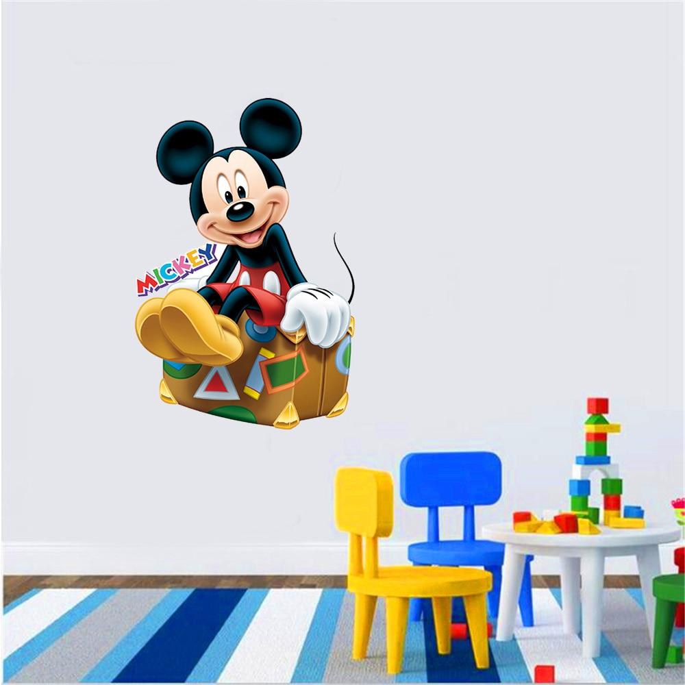 2018 New 50x85cm PVC Stickers Cartoon Mickey Mouse Wall Sticker wallpaper Boys Girls Kids Room Decor Mural Art Decals