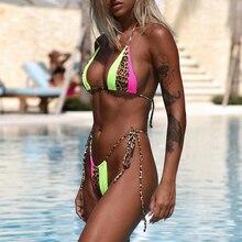 Peachtan Halter bikini 2019 mujer Leopard print brazilian swimsuit female Patchwork swimwear women bathing suit biquini Summer