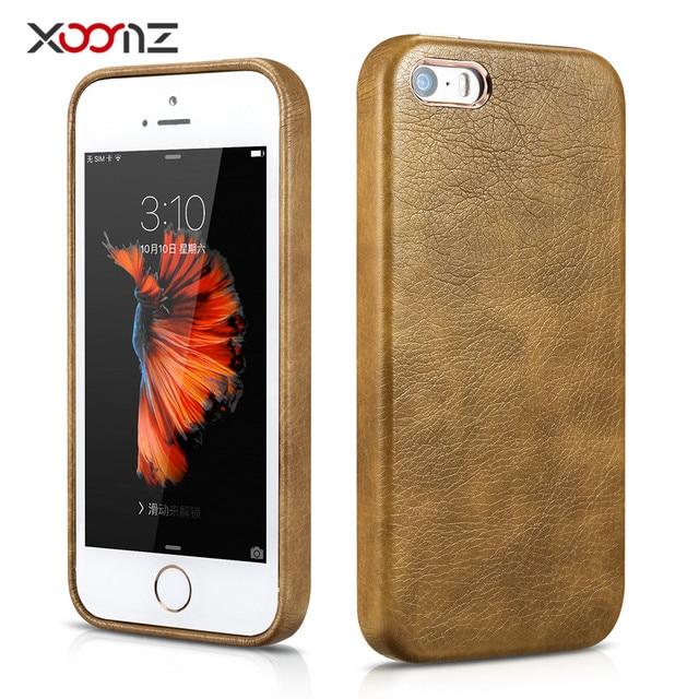 מקורי קייס מותג עבור Apple iPhone SE כריכה אחורית עור XOOMZ עבור iPhone 5se 5 5S מצופה זהב עור PU יוקרה מקרה קאפות