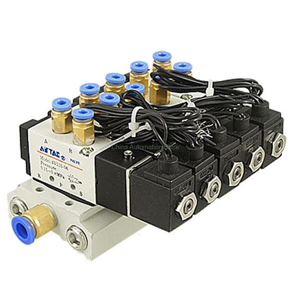 DC 12V DC 24V AC220V 5/32 Quick Fitting 2 Position 5 Way 5 Solenoid Valve w Base Muffler 5 way pilot solenoid valve sy3220 4d 01