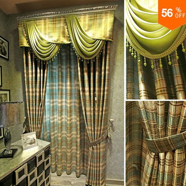 extreme quality the blind Vivian rustic double faced print plaid curtain finished product girl  Blinds the tulle