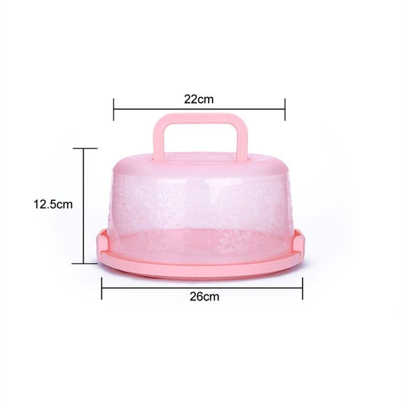 Пластиковая прозрачная коробка для торта, круглая коробка для хранения кондитерских изделий, Подарочная коробка с ручкой для хранения еды, фруктов, десертов, чехол-контейнер для тортов - Цвет: A