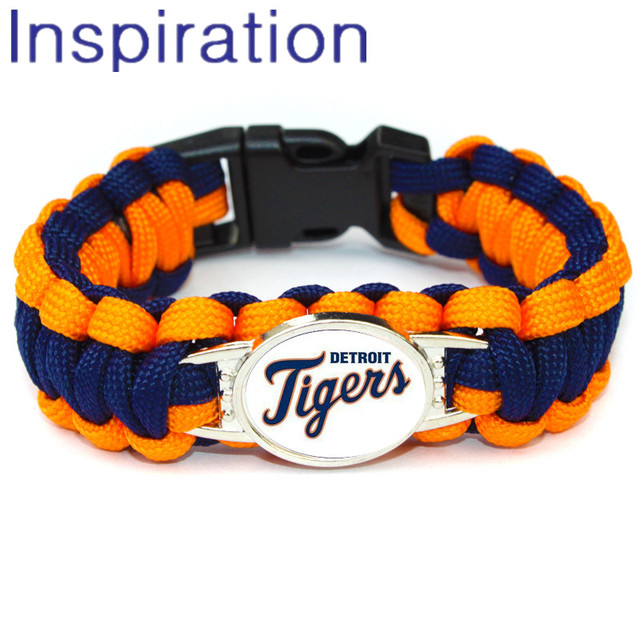 2018 Fashion Detroit Tigers Paracord Bracelet Outdoor Umbrella Rope Survival Baseball Team Jewelry For
