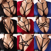 Pentagram Bondage Body Harness Lingerie Goth Crop Tops Cage Bra Belt Rave Wear for Women