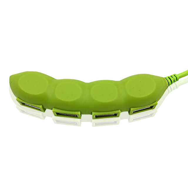 Universal Creative Pea Pod Shaped Plastic USB Hub
