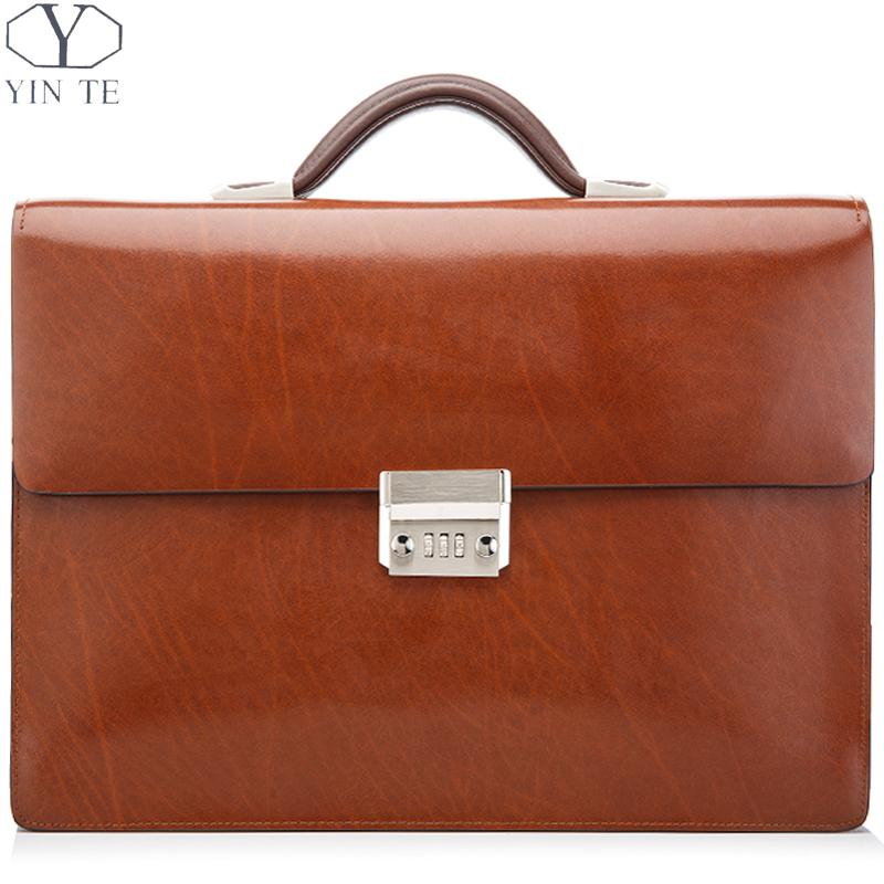 YINTE Fashion Men's Briefcase Leather Brown Bag Laptop Bag Lawyer Messenger Attache Case Totes Briefcase Portfolio T8572-5 цена и фото